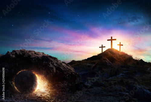 Resurrection - Tomb Empty With Crucifixion At Sunrise - 254006698