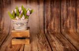 Fototapeta Tulips - Wielkanocne tło © Natalia