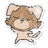 distressed sticker of a cute cartoon dog