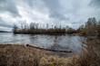 Leinwandbild Motiv riverside landscape in latvia with dark water and dirty shore line