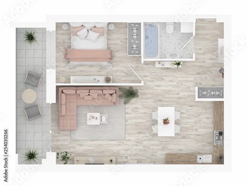 Home floor plan top view. Apartment interior isolated on white background. 3D render - Illustration © artjafara