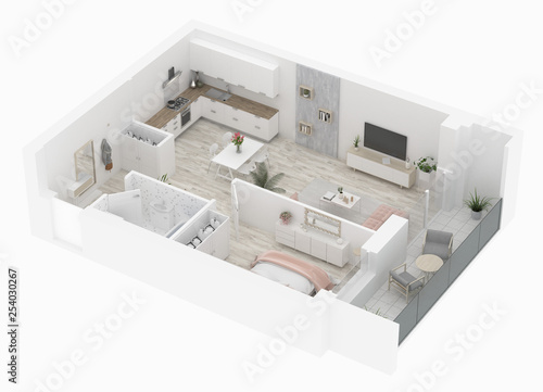 Home floor plan top view. Apartment interior isolated on white background. 3D render - Illustration