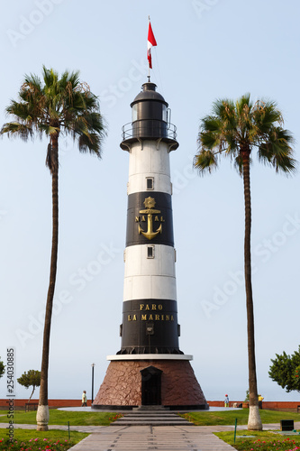 canvas print picture Lima Peru Leuchtturm Faro La Marina Hochformat Wahrzeichen