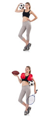 Young woman with football, rugby ball, boxing gloves and tennis  © Elnur