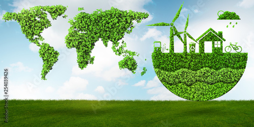 Ecological concept of clean energy - 3d rendering - 254039426