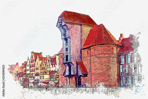 obraz PCV Watercolor sketch or illustration of a beautiful view of the architecture of the city of Gdansk in Poland