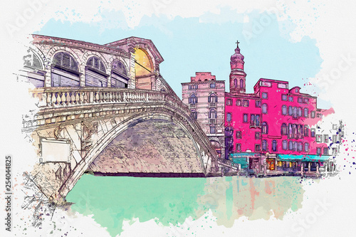 Watercolor sketch or illustration of a beautiful view of the traditional architecture - colorful houses and the bridge in Venice in Italy