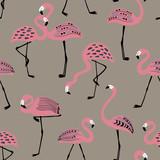 Seamless pattern With Folk Art Flamingo.