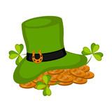 Golden coins in an irish hat. Patrick day. Vector illustration design