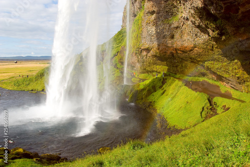 seljalandsfoss waterfall in Iceland on summer - 254064099