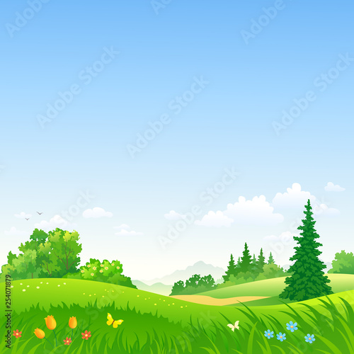 Vector illustration of a beautiful spring landscape © Merggy