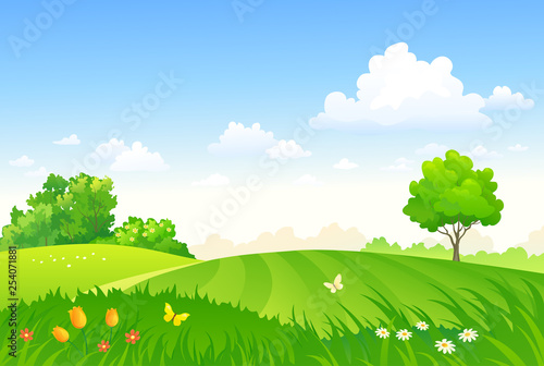 Vector cartoon drawing of a spring pasture, green field landscape © Merggy