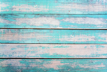 """Постер, картина, фотообои """"Vintage beach wood background - Old weathered wooden plank painted in turquoise or blue sea color."""""""