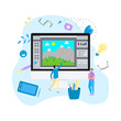 Flat vector graphic drawing concept with open illustration application with a creative project