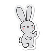sticker of a cute cartoon rabbit