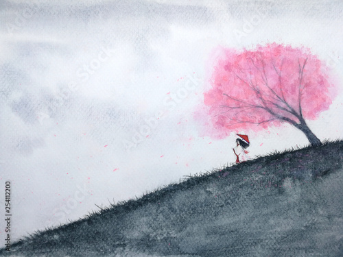 traditional oriental woman waiting someone under cherry blossom or sakura in field. watercolor landscape  asia art hand drawn style. © atichat
