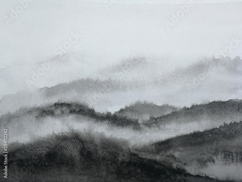 watercolor ink landscape mountain fog.traditional oriental ink asia art style. © atichat