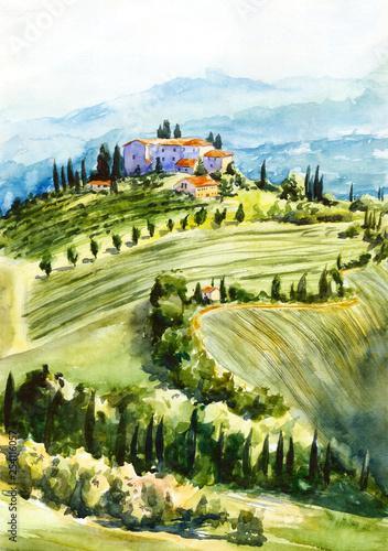 Toscana landscape. Watercolor illustration