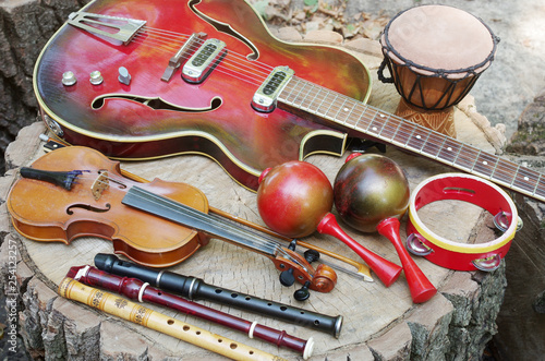 Guitar, violin, maracas, pipes, djembe, cowboy hat in nature - 254123257