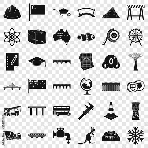 Town bridge icons set. Simple style of 36 town bridge vector icons for web for any design
