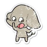 distressed sticker of a cute cartoon elephant