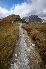 Tatra mountain peaks with tourist hiking trails in sunny summer day © Martins Vanags
