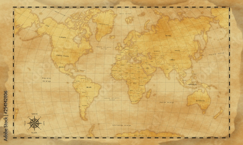 vintage style world map background © Afero