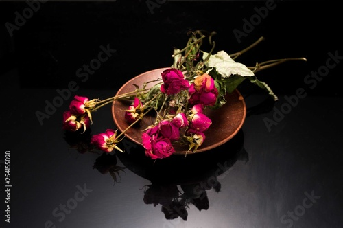 Dried dwarf roses. Cut bouquet of roses. © vzwer