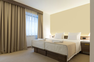 Interior of a modern new hotel bedroom