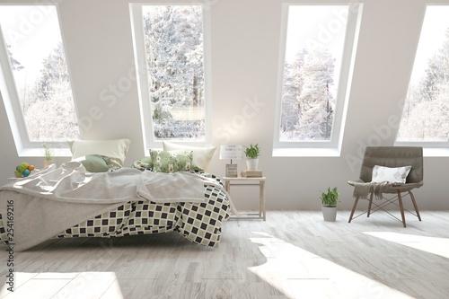 White stylish minimalist bedroom with winter landscape in window. Scandinavian interior design. 3D illustration - 254169216