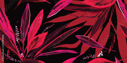 Trendy floral seamless pattern. Pink and red leaves on a black background. Hand-drawn vector illustration. © Oscar Ghost
