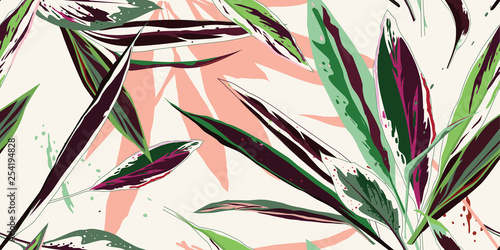 Modern floral seamless pattern. Sketch of multi-colored leaves on a light background. Hand-drawn vector illustration. © Oscar Ghost