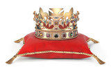 Golden crown with jewels on red velvet pillow for coronation isolated on white. - 254196882
