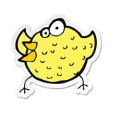 sticker of a cartoon happy bird