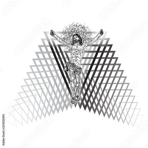 Jesus Christ hover on triangle tattoo. New age sacred geometry symbol of Christianity prayer and religion. Mystical concept of spirituality and sacred religious magic secret. Prophet in space. Vector.