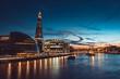 Banks of river Thames in London after sunrise