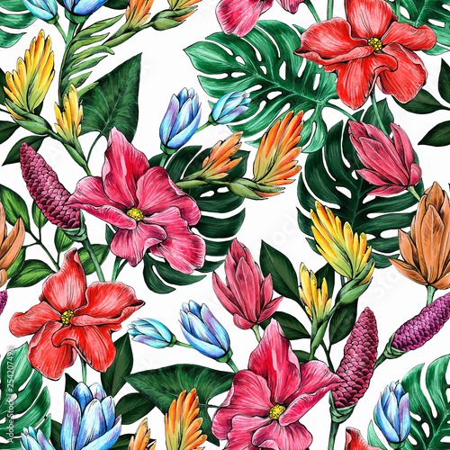 Seamless floral pattern of tropical flowers and leaves.  © Anna