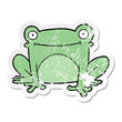 distressed sticker of a cartoon frog