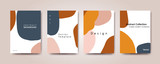 design poster for social media. Background with navy blue and orange  abstract shape - 254210091