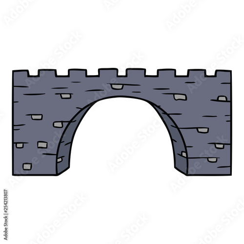 cartoon doodle of a stone bridge - 254213807