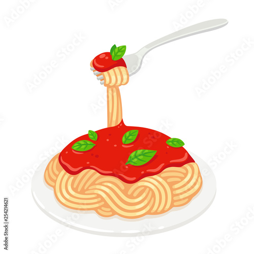 Spaghetti with tomato sauce - 254214621