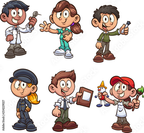Cartoon kids with different occupations clip art. Vector illustration with simple gradients. Each on a separate layer. - 254229027
