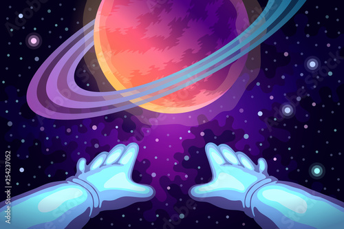 Astronaut's hands and planet ahead - 254237052