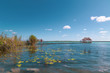 Beautiful Laguna Bacalar. view of the horizon, lagoon of the seven colors in Quintana roo Mexico