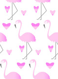 Seamless pattern with pink flamihgo and hearts