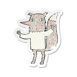 retro distressed sticker of a cartoon wolf