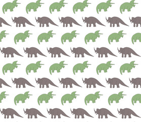 Seamless pattern with colorful dinosaurs on the white background