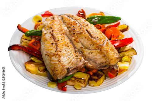 Dish  of bulgarian cuisine of  tasty baked vegetables with mackerel - 254246601