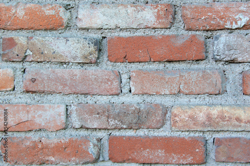 red brick wall background - 254248084