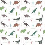 Fototapeta Dinusie - Seamless pattern with multicolors dinosaurs and bright leaf on the white background © Anastasiya
